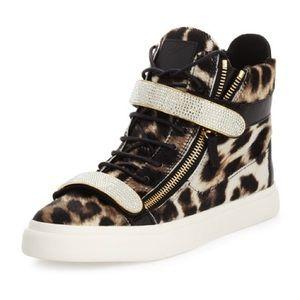 Giuseppe Zanotti Swarovski Leopard Sneakers SZ 8.5